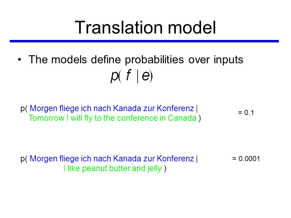 Translation model •The models define probabilities over inputs p( Morgen fliege ich nach Kanada zur Konferenz | Tomorrow I will fly to the conference in Canada ) p( Morgen fliege ich nach Kanada zur Konferenz | I like peanut butter and jelly ) = 0.1 = 0.0001