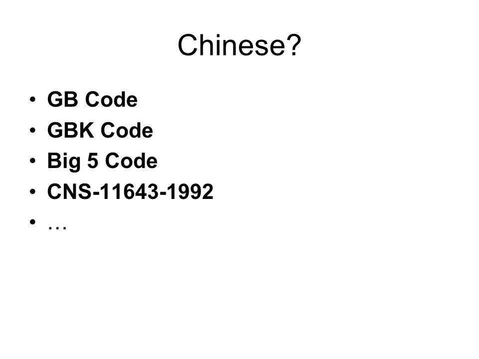 Chinese •GB Code •GBK Code •Big 5 Code •CNS-11643-1992 •…