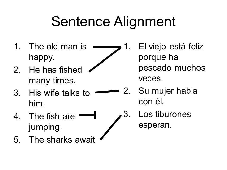 Sentence Alignment 1.The old man is happy. 2.He has fished many times.