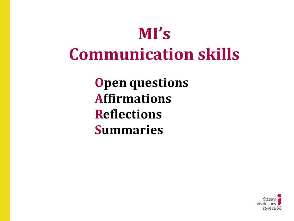 MI's Communication skills Open questions Affirmations Reflections Summaries