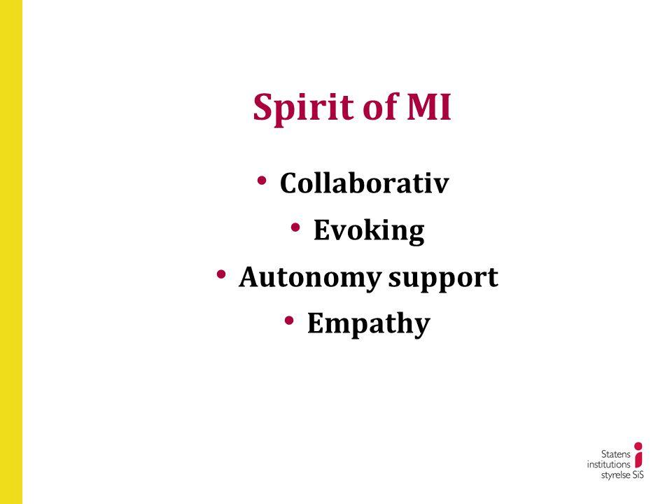 Spirit of MI • Collaborativ • Evoking • Autonomy support • Empathy