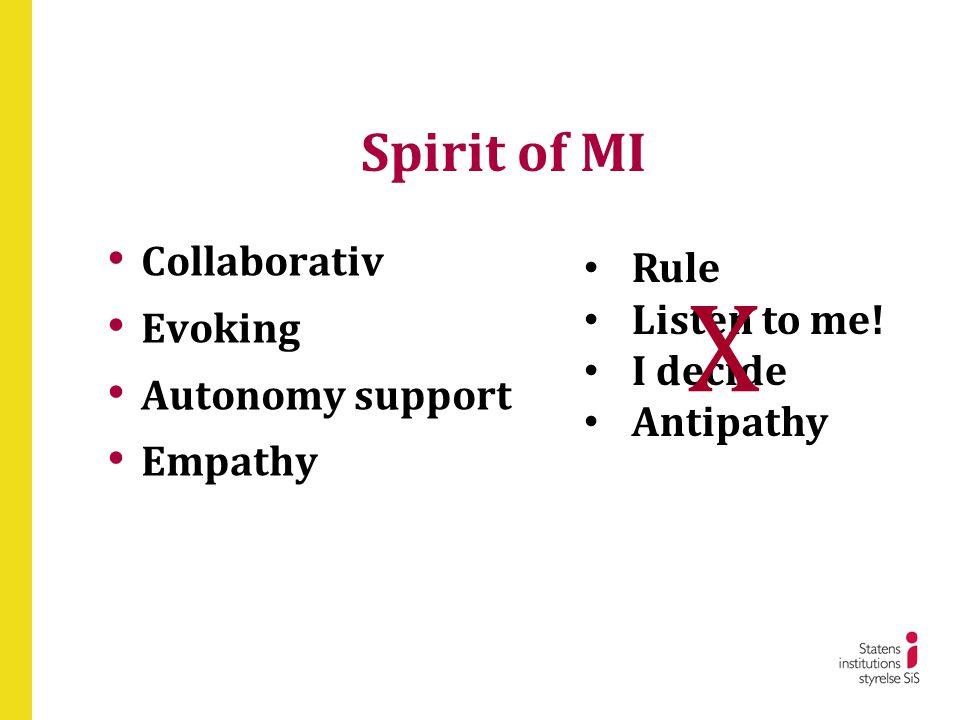 Spirit of MI • Collaborativ • Evoking • Autonomy support • Empathy • Rule • Listen to me! • I decide • Antipathy X