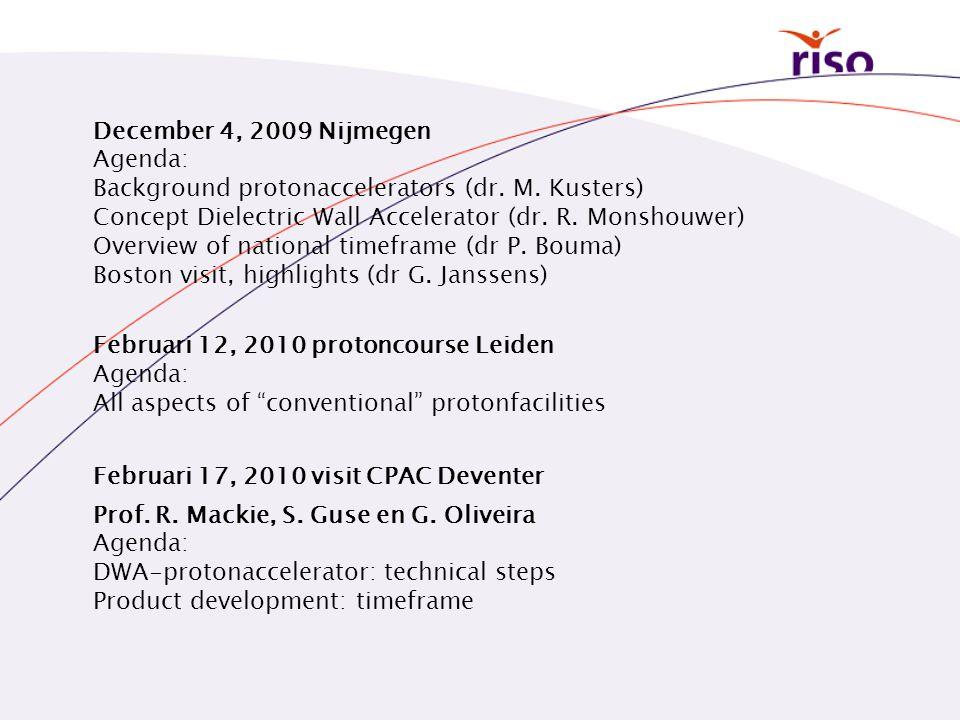 December 4, 2009 Nijmegen Agenda: Background protonaccelerators (dr. M. Kusters) Concept Dielectric Wall Accelerator (dr. R. Monshouwer) Overview of