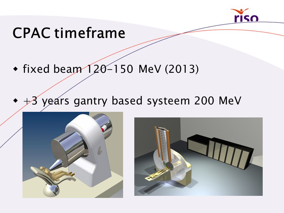 CPAC timeframe  fixed beam 120-150 MeV (2013)  +3 years gantry based systeem 200 MeV