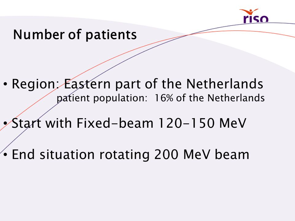 Number of patients • Region: Eastern part of the Netherlands patient population: 16% of the Netherlands • Start with Fixed-beam 120-150 MeV • End situ