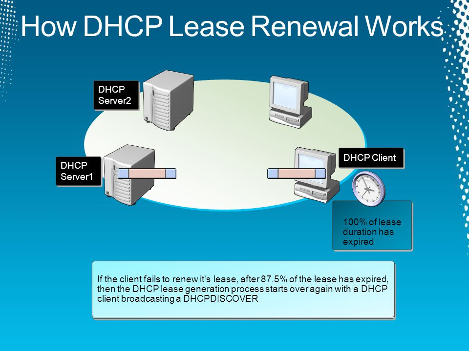 DHCP Client sends a DHCPREQUEST packet 1 1 DHCP Server1 sends a DHCPACK packet 2 2 If the client fails to renew its lease, after 50% of the lease duration has expired, then the DHCP lease renewal process will begin again after 87.5% of the lease duration has expired If the client fails to renew it's lease, after 87.5% of the lease has expired, then the DHCP lease generation process starts over again with a DHCP client broadcasting a DHCPDISCOVER DHCP Client DHCP Server1 DHCP Server2 50% of lease duration has expired 87.5% of lease duration has expired 100% of lease duration has expired