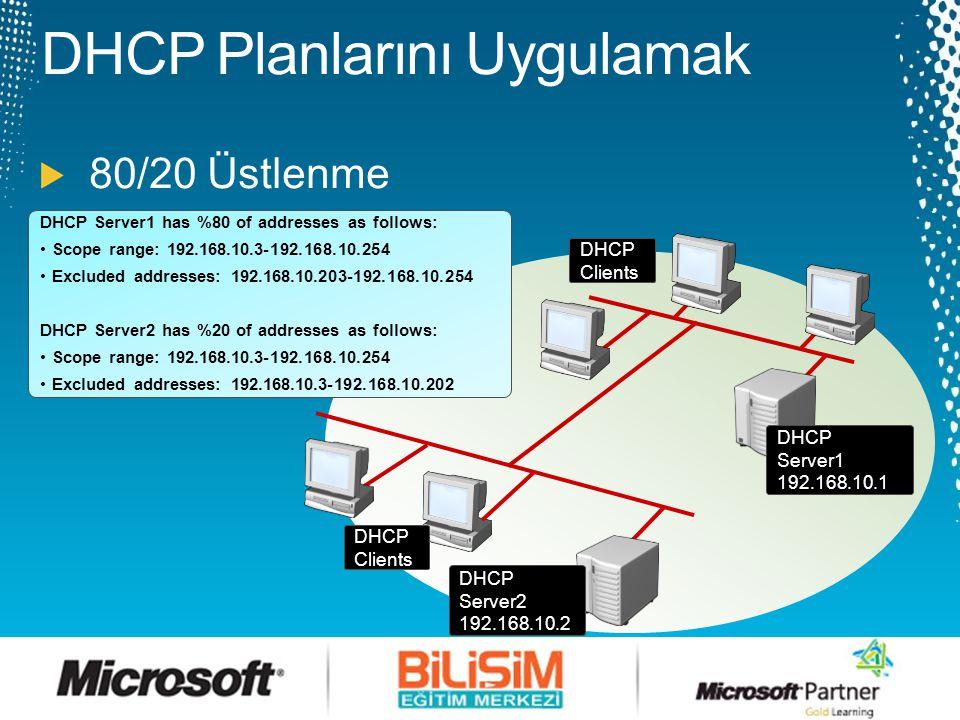 DHCP Clients DHCP Server1 DHCP Server2 DHCP Server1 has %100 of addresses as follows: •Scope range: 10.0.1.1-10.0.10.254 •Excluded addresses: 10.0.6.1-10.0.10.254 DHCP Server2 has %100 of addresses as follows: •Scope range: 10.0.1.1-10.0.10.254 •Excluded addresses: 10.0.1.1-10.0.5.254