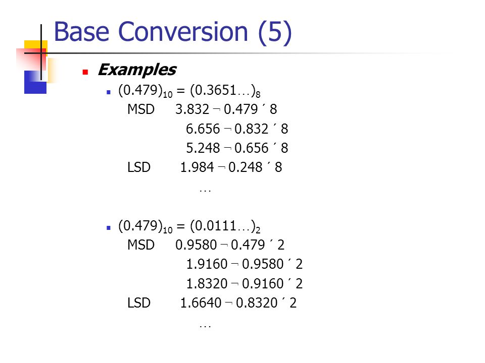 Base Conversion (4)  Radix Multiply Method  Used to convert fractions.