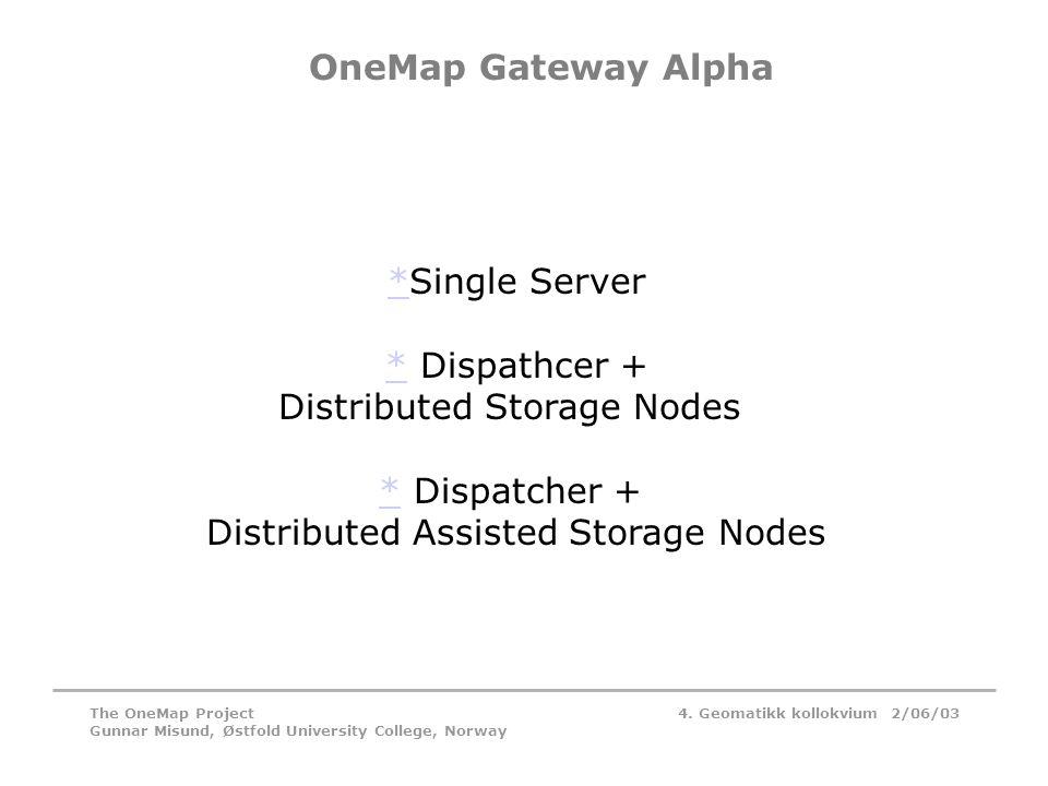 4. Geomatikk kollokvium 2/06/03The OneMap Project Gunnar Misund, Østfold University College, Norway OneMap Gateway Alpha **Single Server ** Dispathcer