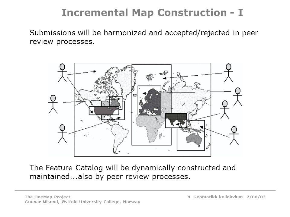 4. Geomatikk kollokvium 2/06/03The OneMap Project Gunnar Misund, Østfold University College, Norway Incremental Map Construction - I Submissions will
