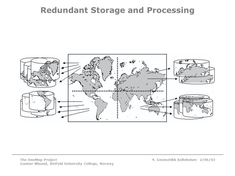 4. Geomatikk kollokvium 2/06/03The OneMap Project Gunnar Misund, Østfold University College, Norway Redundant Storage and Processing