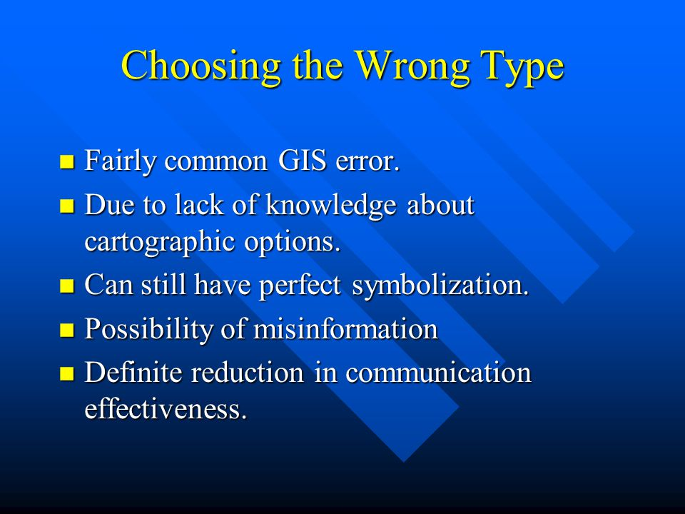 Choosing the Wrong Type n Fairly common GIS error.
