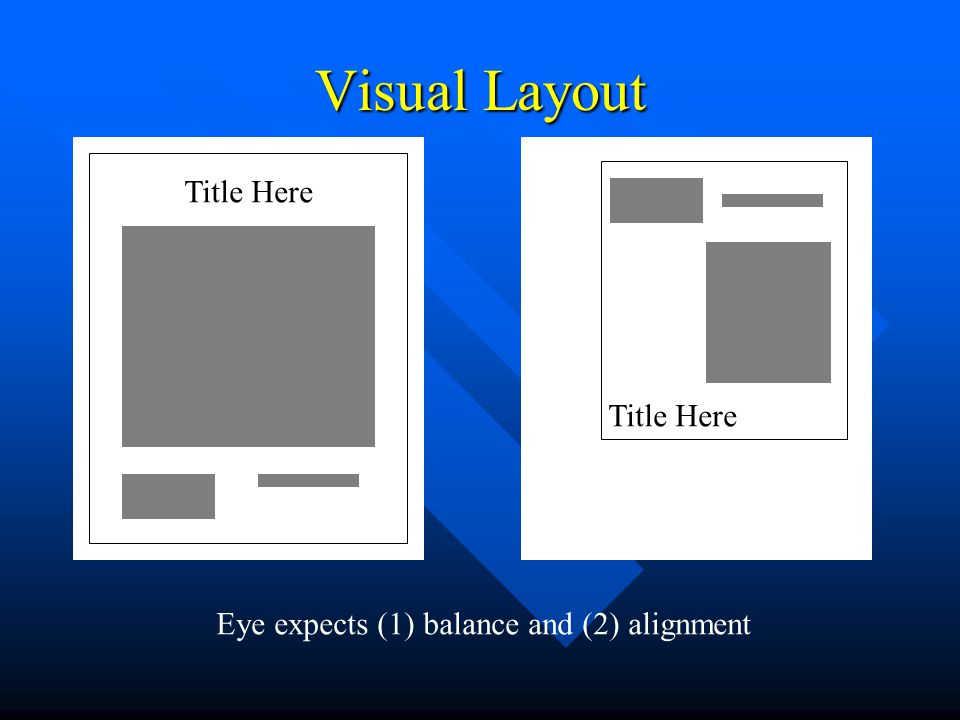 Visual Layout Title Here Eye expects (1) balance and (2) alignment
