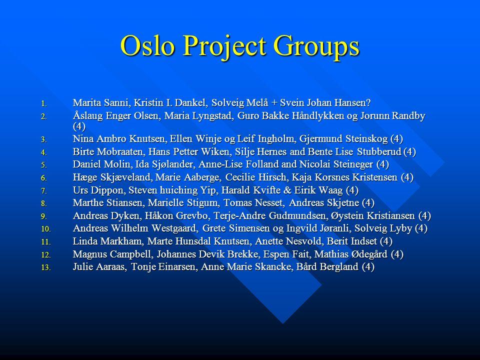 Oslo Project Groups 1. Marita Sanni, Kristin I. Dankel, Solveig Melå + Svein Johan Hansen.