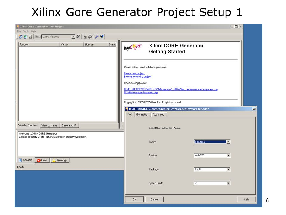INF3430 - H136 Xilinx Gore Generator Project Setup 1