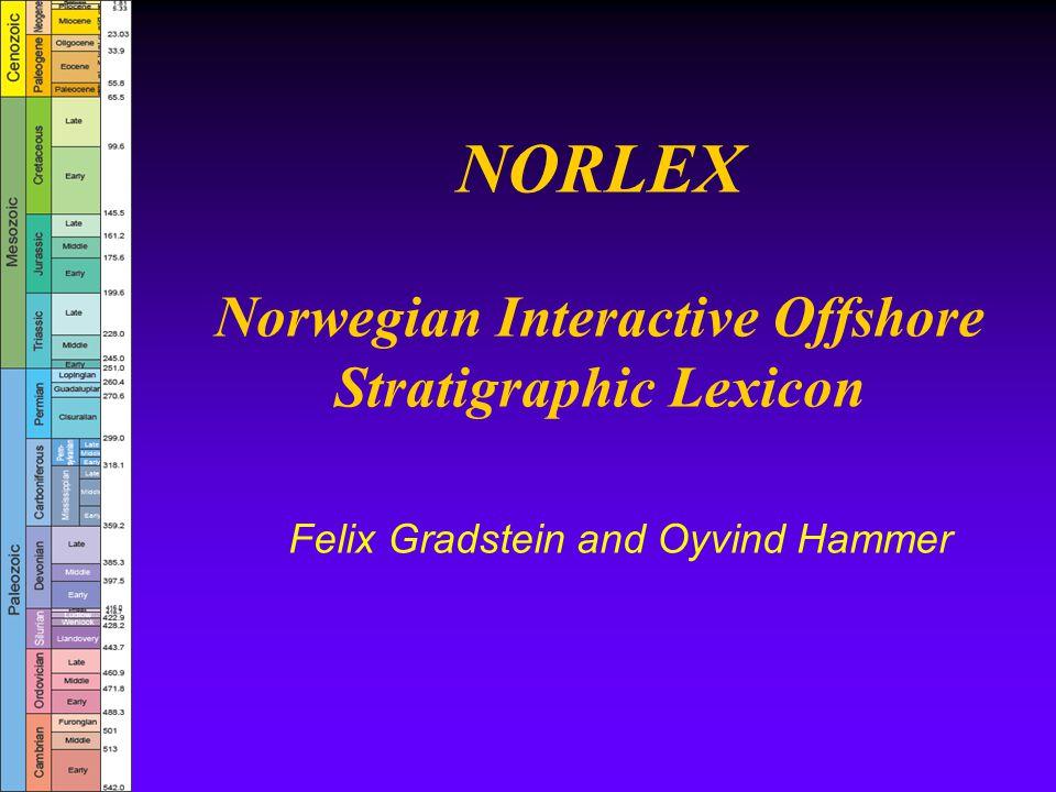 NORLEX Norwegian Interactive Offshore Stratigraphic Lexicon Felix Gradstein and Oyvind Hammer