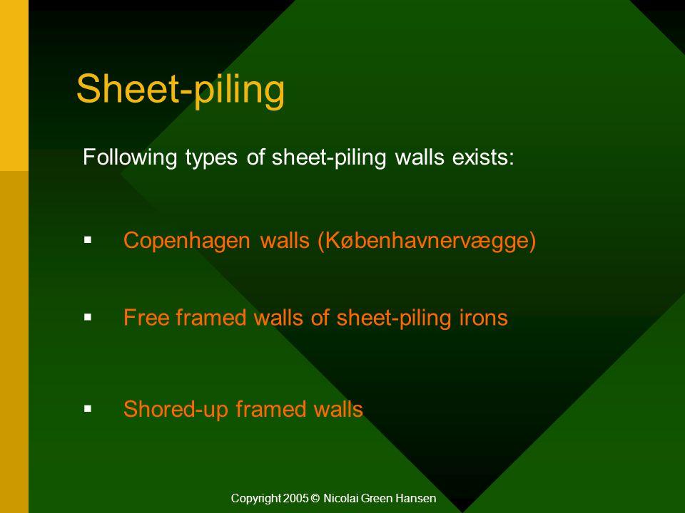 Sheet-piling Copyright 2005 © Nicolai Green Hansen Following types of sheet-piling walls exists:  Copenhagen walls (Københavnervægge)  Free framed w