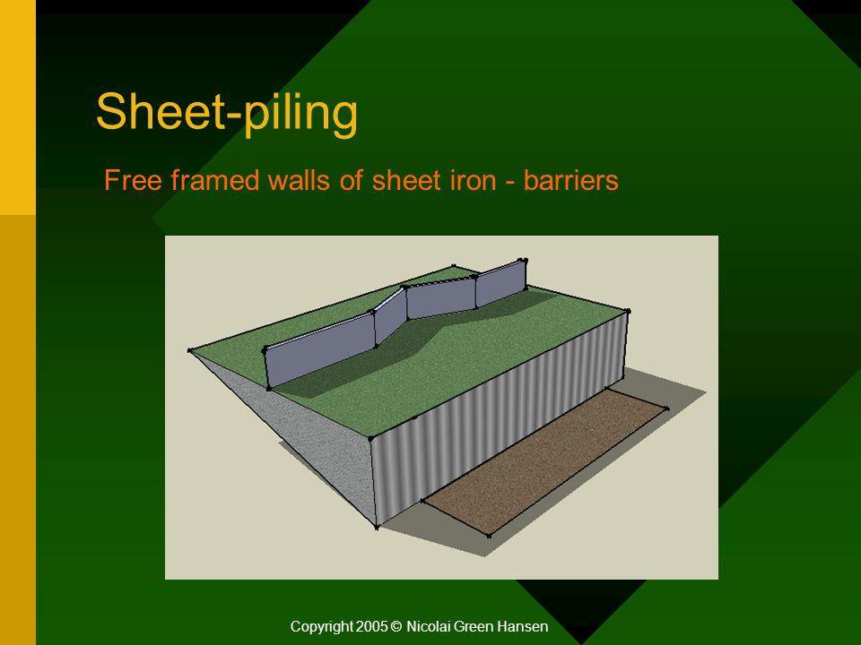 Sheet-piling Copyright 2005 © Nicolai Green Hansen Free framed walls of sheet iron - barriers