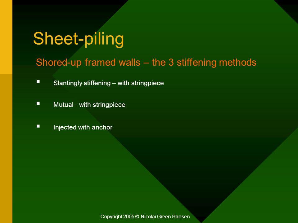Sheet-piling Copyright 2005 © Nicolai Green Hansen Shored-up framed walls – the 3 stiffening methods  Slantingly stiffening – with stringpiece  Mutu