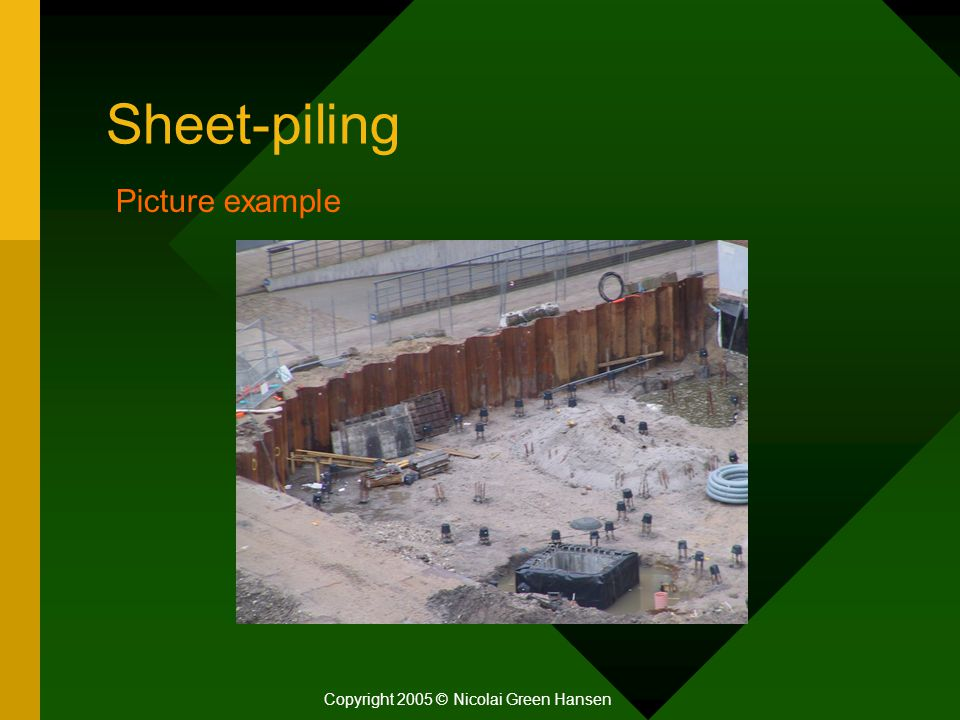Sheet-piling Copyright 2005 © Nicolai Green Hansen Picture example