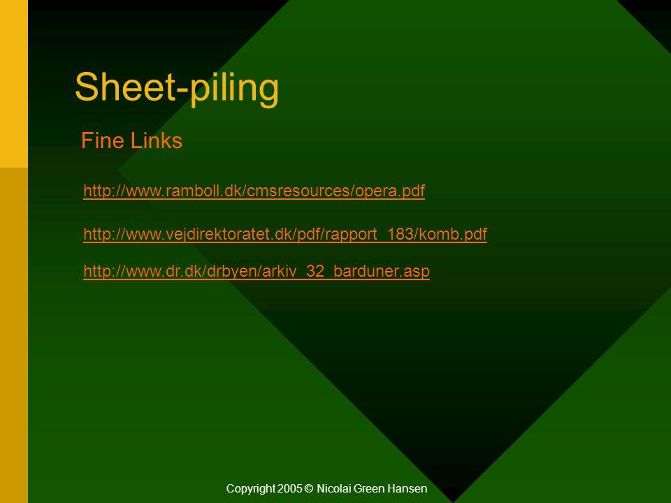 Sheet-piling Copyright 2005 © Nicolai Green Hansen Fine Links http://www.ramboll.dk/cmsresources/opera.pdf http://www.vejdirektoratet.dk/pdf/rapport_1