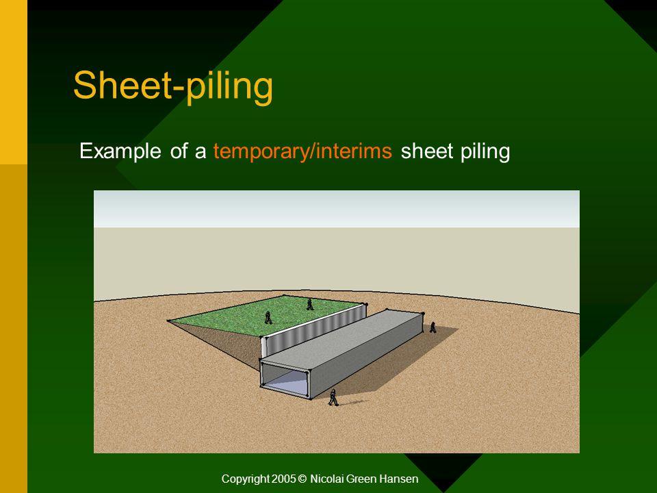 Sheet-piling Copyright 2005 © Nicolai Green Hansen Example of a temporary/interims sheet piling