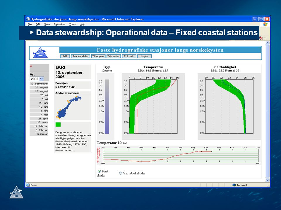 ▶ Data stewardship: Operational data – Fixed coastal stations