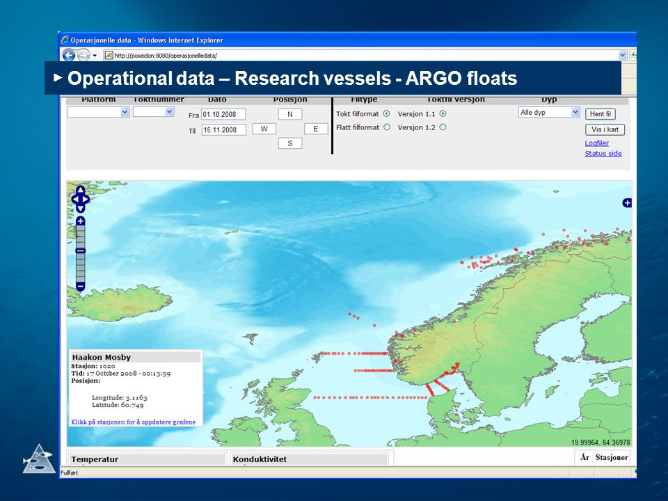 ▶ Operational data – Research vessels - ARGO floats