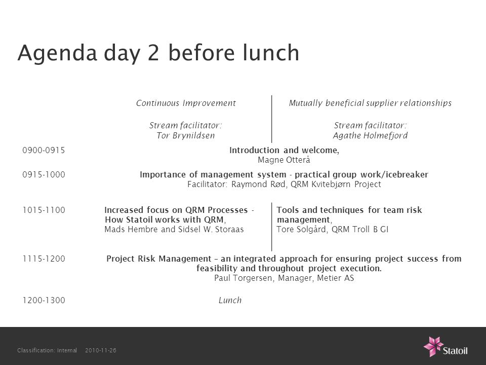 Classification: Internal 2010-11-26 Agenda day 2 before lunch Continuous ImprovementMutually beneficial supplier relationships Stream facilitator: Tor