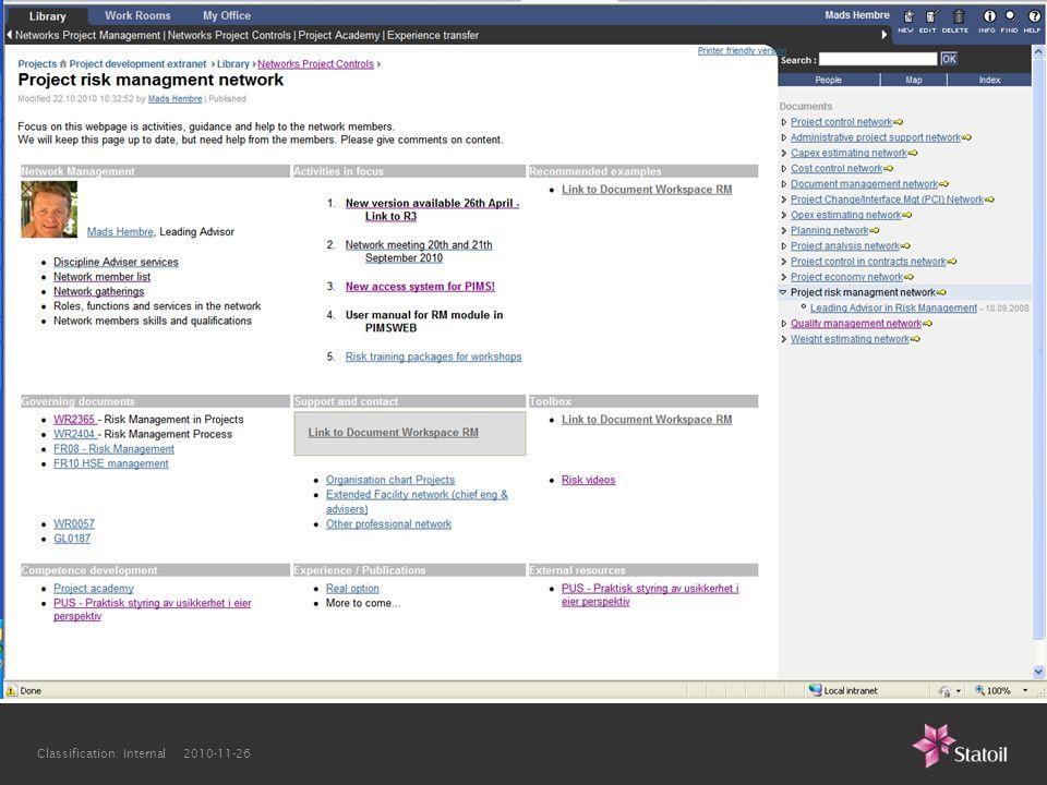 Classification: Internal 2010-11-26 Homepage Network