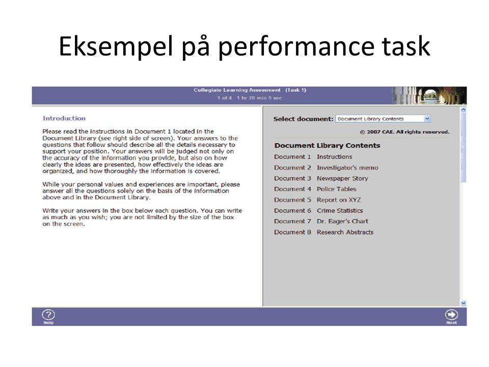 Eksempel på performance task