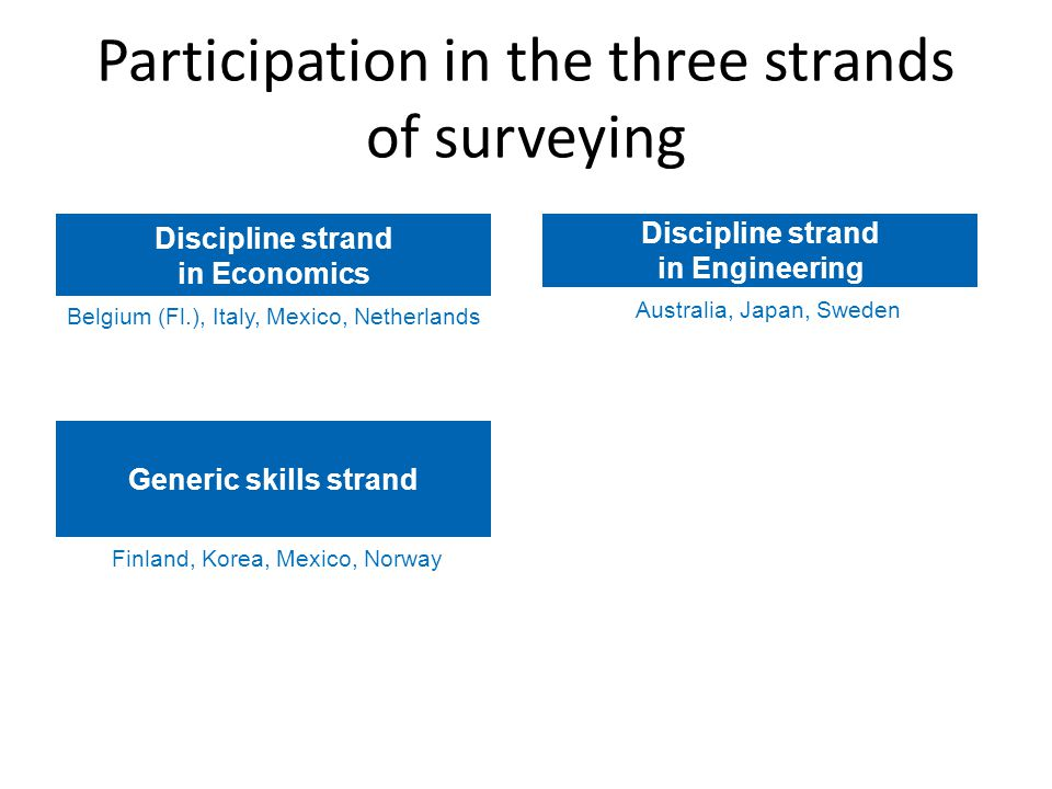 Participation in the three strands of surveying Australia, Japan, Sweden Discipline strand in Engineering Belgium (Fl.), Italy, Mexico, Netherlands Discipline strand in Economics Finland, Korea, Mexico, Norway Generic skills strand