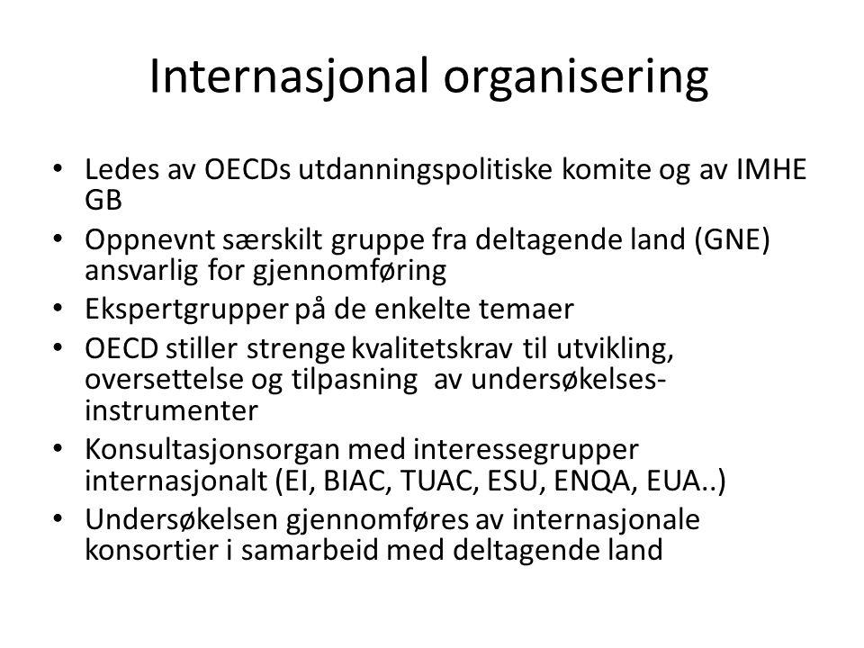 Internasjonal organisering • Ledes av OECDs utdanningspolitiske komite og av IMHE GB • Oppnevnt særskilt gruppe fra deltagende land (GNE) ansvarlig for gjennomføring • Ekspertgrupper på de enkelte temaer • OECD stiller strenge kvalitetskrav til utvikling, oversettelse og tilpasning av undersøkelses- instrumenter • Konsultasjonsorgan med interessegrupper internasjonalt (EI, BIAC, TUAC, ESU, ENQA, EUA..) • Undersøkelsen gjennomføres av internasjonale konsortier i samarbeid med deltagende land