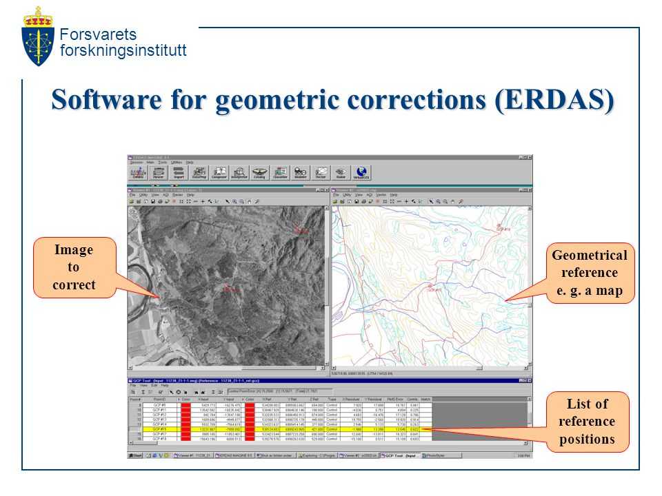 Forsvarets forskningsinstitutt Software for geometric corrections (ERDAS) Image to correct Geometrical reference e.