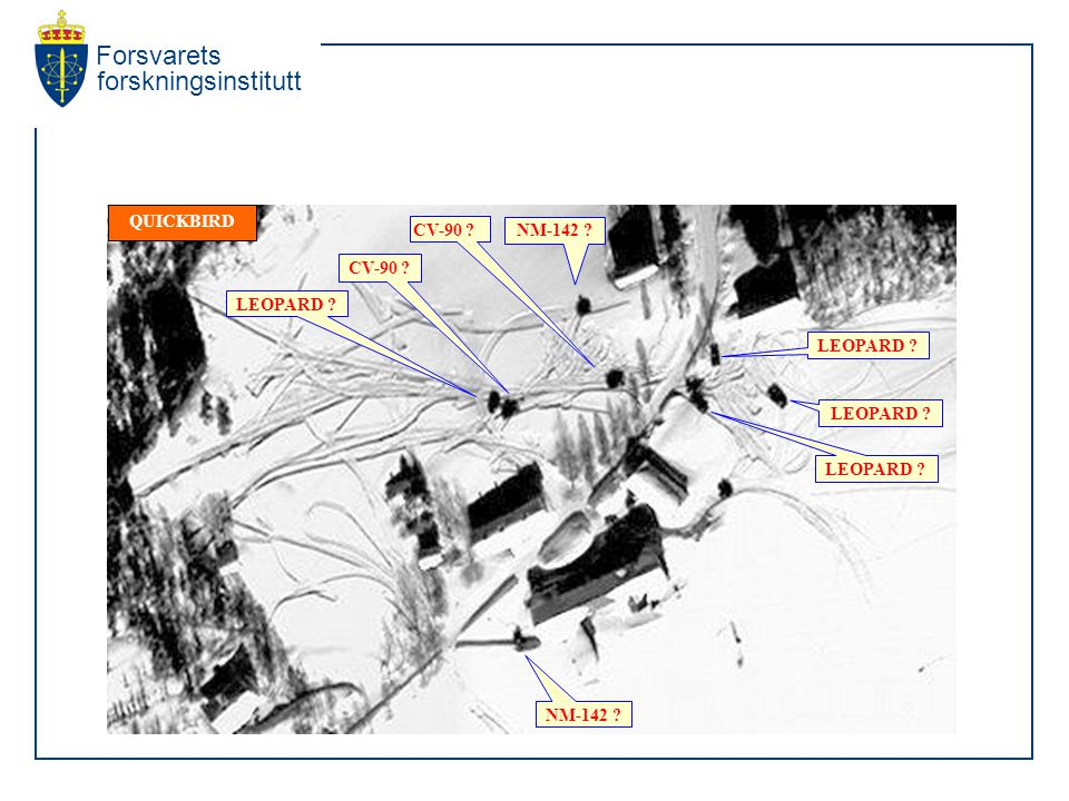 Forsvarets forskningsinstitutt QUICKBIRD CV-90 NM-142 LEOPARD CV-90 NM-142