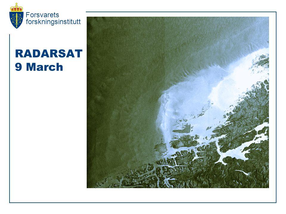 Forsvarets forskningsinstitutt RADARSAT 9 March