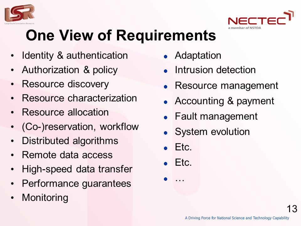 13 One View of Requirements • Identity & authentication • Authorization & policy • Resource discovery • Resource characterization • Resource allocation • (Co-)reservation, workflow • Distributed algorithms • Remote data access • High-speed data transfer • Performance guarantees • Monitoring  Adaptation  Intrusion detection  Resource management  Accounting & payment  Fault management  System evolution  Etc.