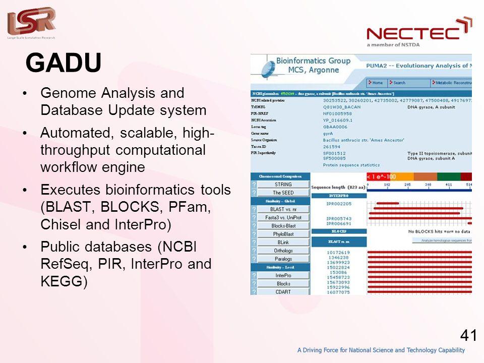 41 GADU • Genome Analysis and Database Update system • Automated, scalable, high- throughput computational workflow engine • Executes bioinformatics tools (BLAST, BLOCKS, PFam, Chisel and InterPro) • Public databases (NCBI RefSeq, PIR, InterPro and KEGG)