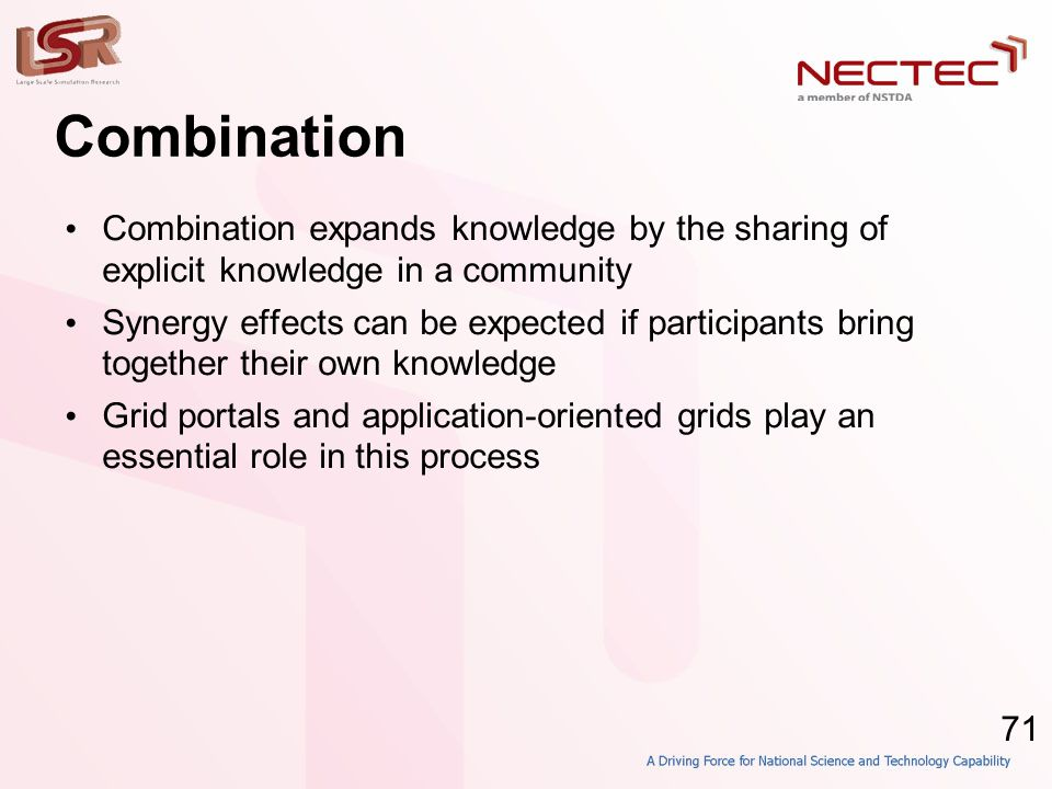 71 Combination • Combination expands knowledge by the sharing of explicit knowledge in a community • Synergy effects can be expected if participants b