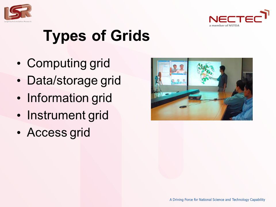 Types of Grids • Computing grid • Data/storage grid • Information grid • Instrument grid • Access grid