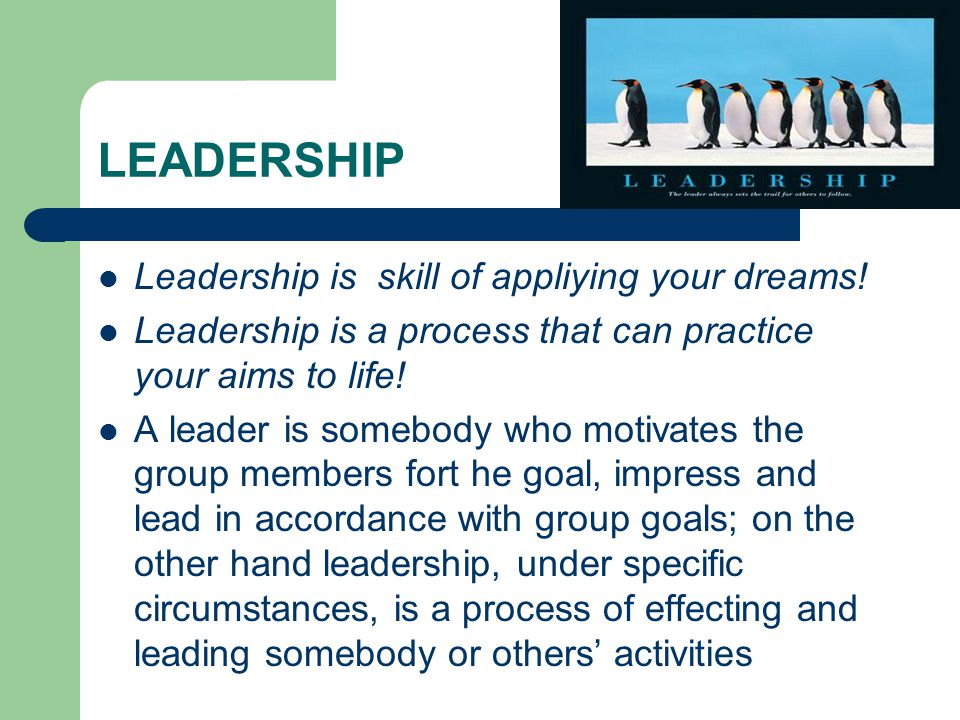 LEADERSHIP  Leadership is skill of appliying your dreams.