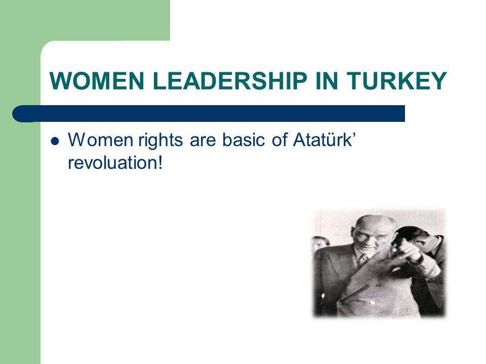 WOMEN LEADERSHIP IN TURKEY  Women rights are basic of Atatürk' revoluation!
