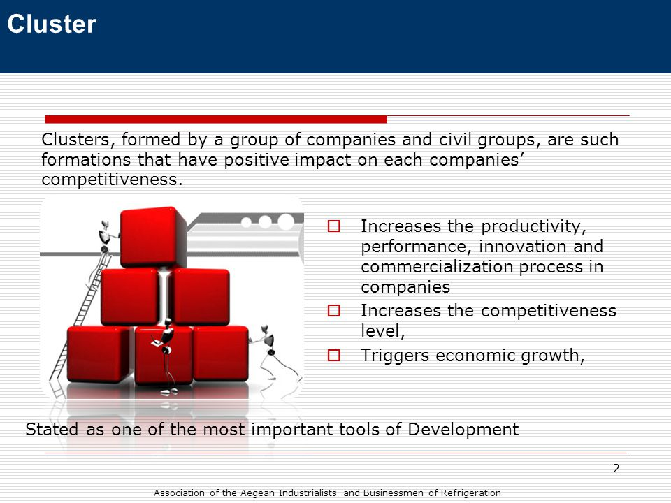 2  Increases the productivity, performance, innovation and commercialization process in companies  Increases the competitiveness level,  Triggers economic growth, Clusters, formed by a group of companies and civil groups, are such formations that have positive impact on each companies' competitiveness.