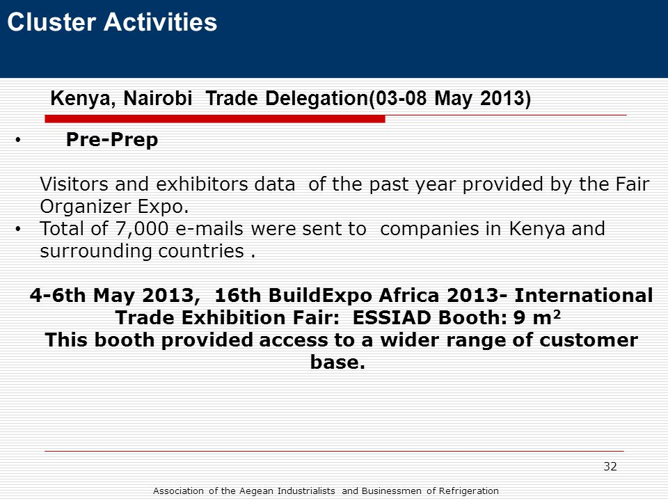 32 Cluster Activities Kenya, Nairobi Trade Delegation(03-08 May 2013) • Pre-Prep Visitors and exhibitors data of the past year provided by the Fair Organizer Expo.