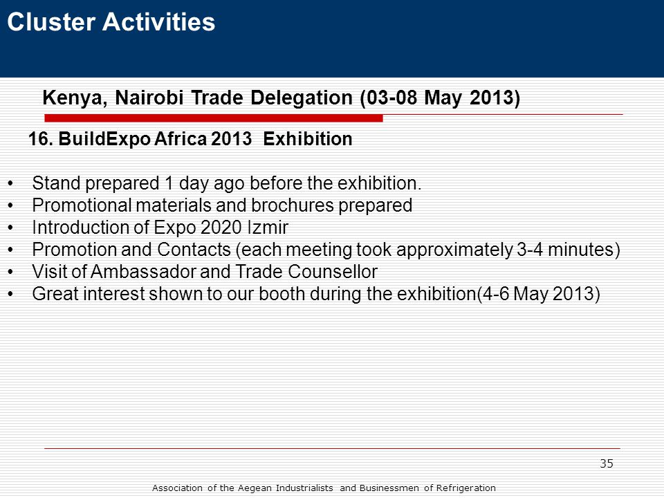 35 Cluster Activities Kenya, Nairobi Trade Delegation (03-08 May 2013) 16.