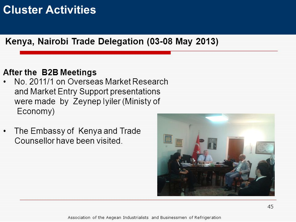 45 Kenya, Nairobi Trade Delegation (03-08 May 2013) After the B2B Meetings •No.