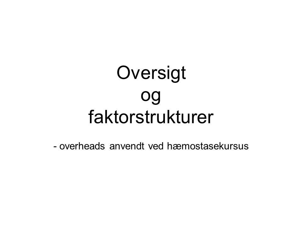 Oversigt og faktorstrukturer - overheads anvendt ved hæmostasekursus