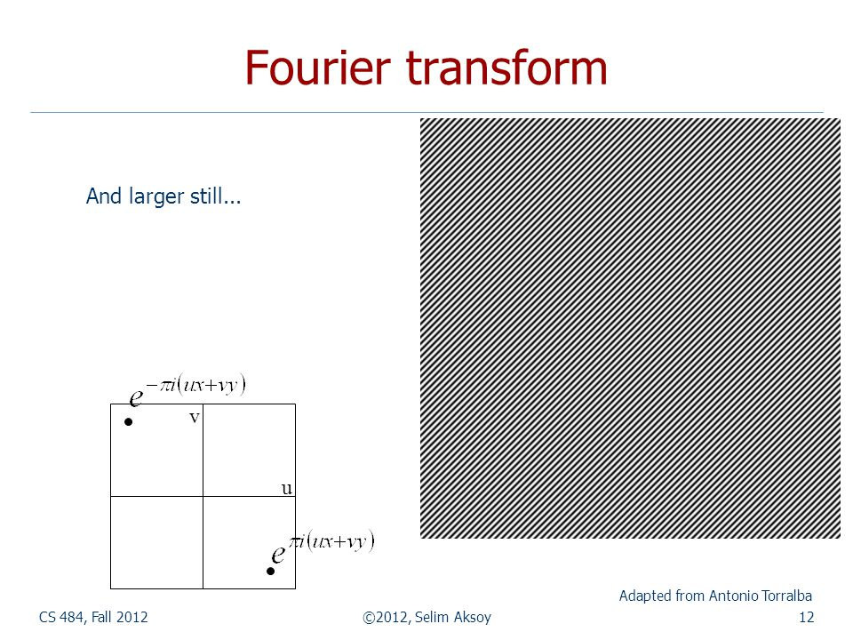 Fourier transform CS 484, Fall 2012©2012, Selim Aksoy12 Adapted from Antonio Torralba And larger still...