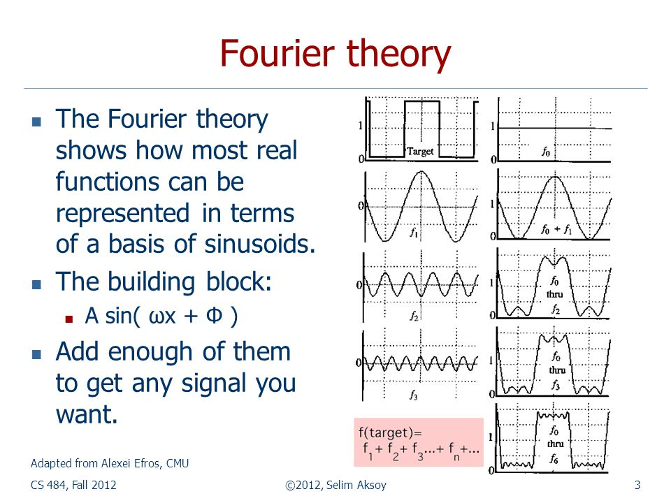 CS 484, Fall 2012©2012, Selim Aksoy3 Fourier theory  The Fourier theory shows how most real functions can be represented in terms of a basis of sinusoids.