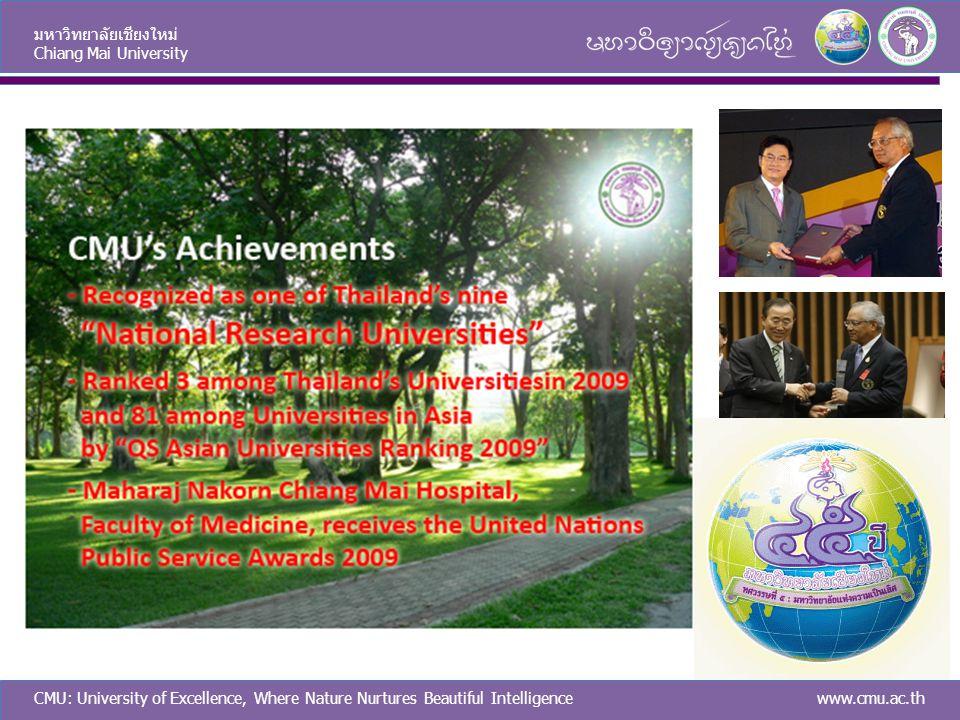 CMU: University of Excellence, Where Nature Nurtures Beautiful Intelligence มหาวิทยาลัยเชียงใหม่ Chiang Mai University www.cmu.ac.th CMU Achievements